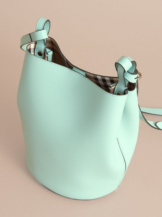 Leather and Haymarket Check Crossbody Bucket Bag in Pale Opal - Women | Burberry United States - cell image 3