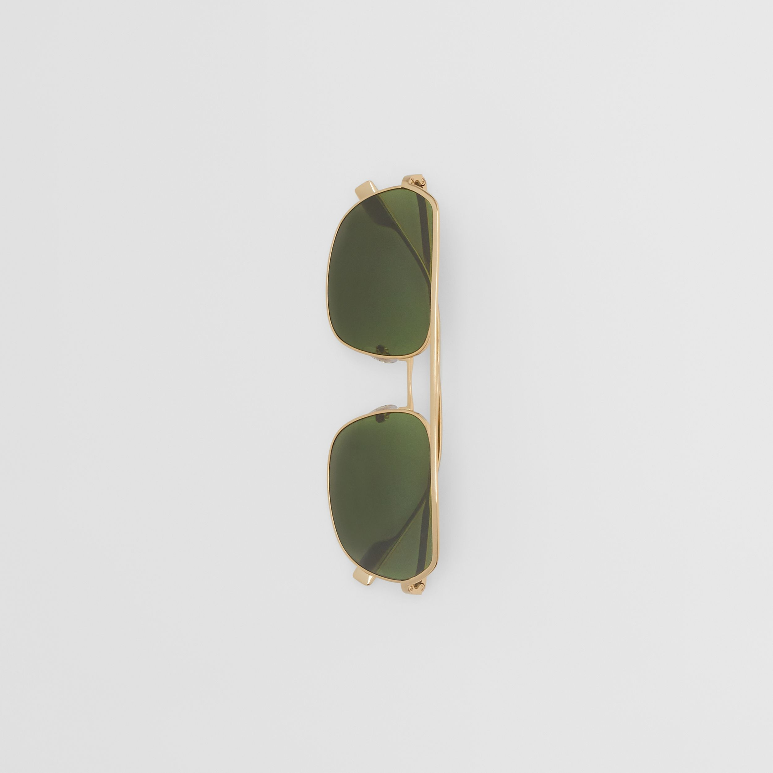 Square Pilot Sunglasses in Vintage Brushed Gold - Men | Burberry - 4