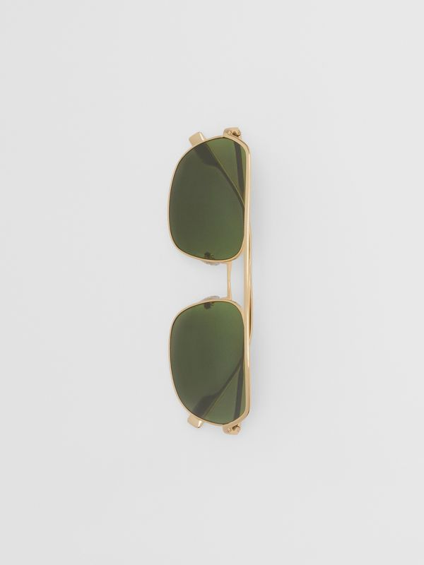 Square Pilot Sunglasses in Vintage Brushed Gold - Men | Burberry United Kingdom - cell image 3