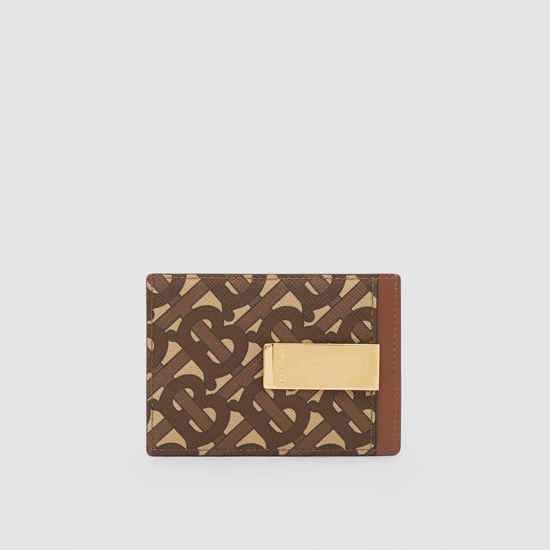 Monogram Print E-canvas Money Clip Card Case in Bridle Brown - Men | Burberry - gallery image 4