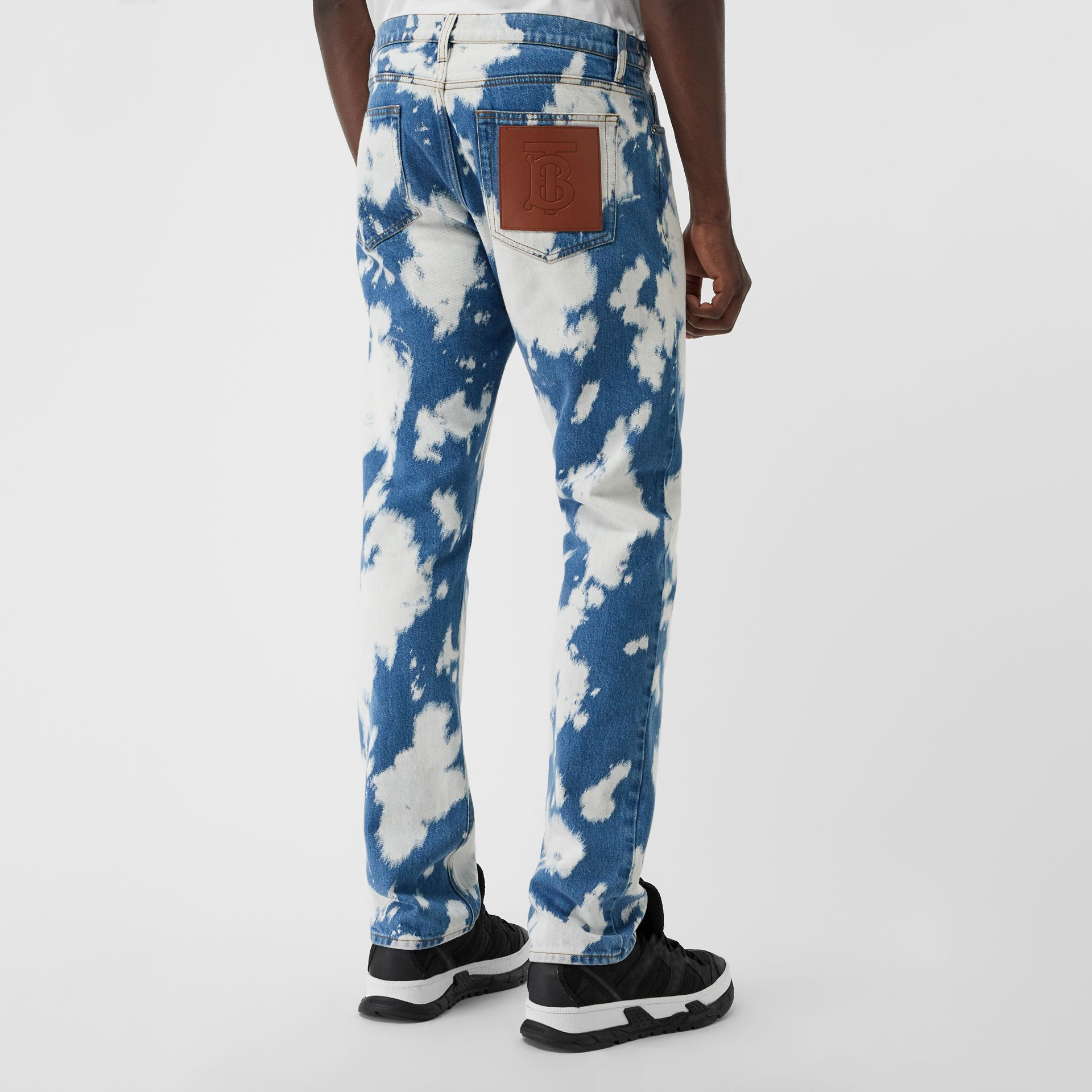 Straight Fit Monogram Motif Bleached Denim Jeans in Light Indigo - Men | Burberry - gallery image 2