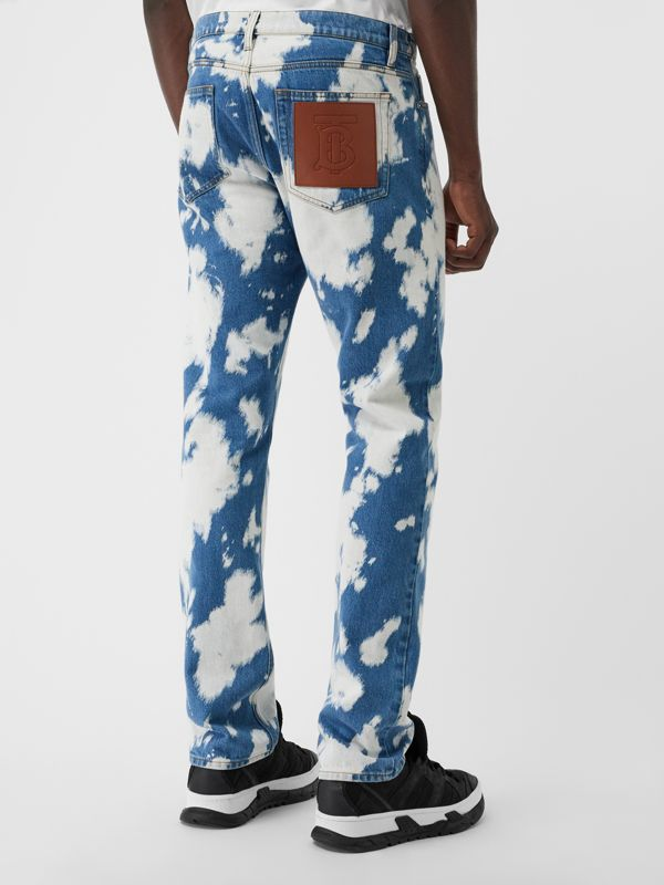 Straight Fit Monogram Motif Bleached Denim Jeans in Light Indigo - Men | Burberry - cell image 2
