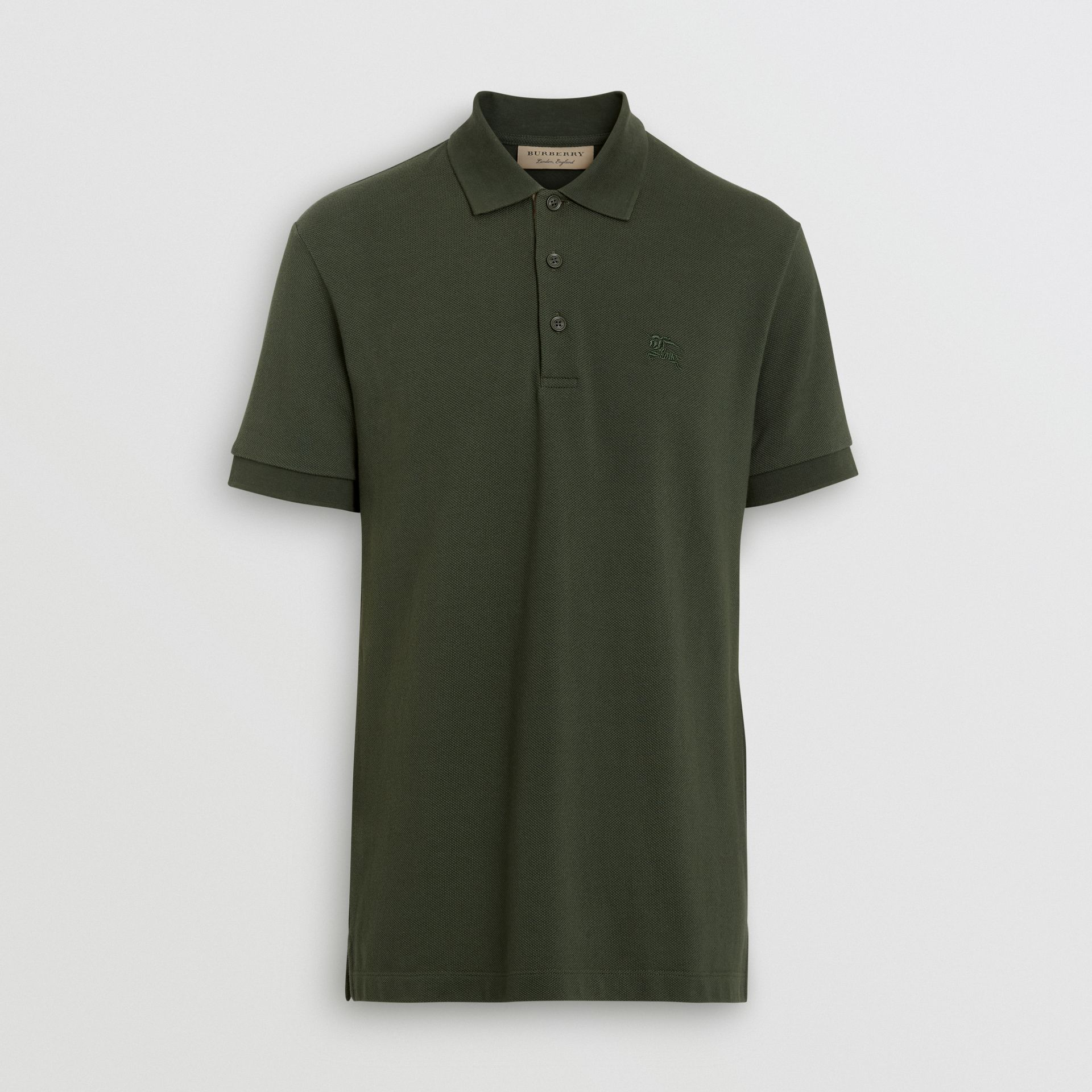Check Placket Cotton Polo Shirt in Dark Antique Green - Men | Burberry - gallery image 3