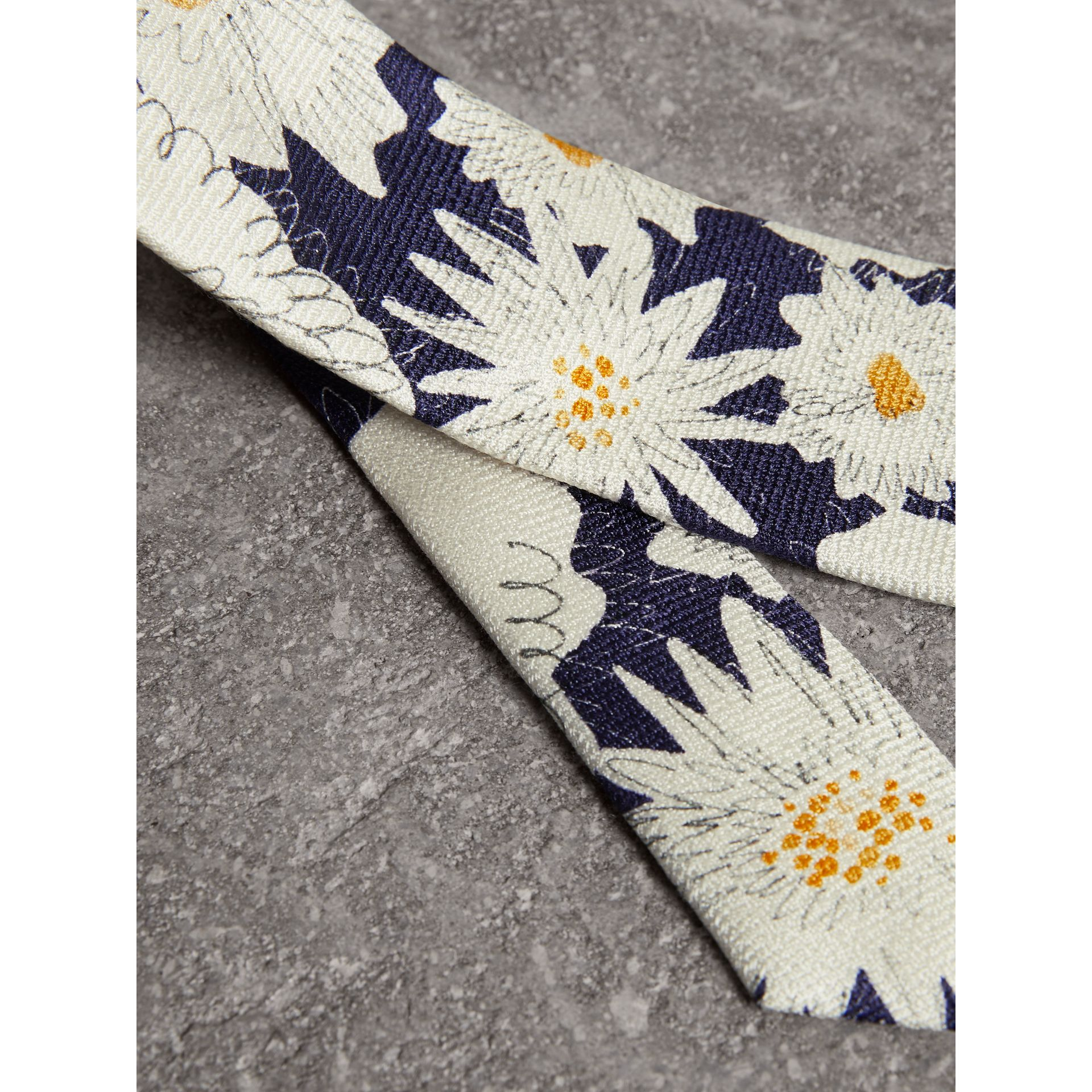 Slim Cut Daisy Print Silk Tie in Navy - Men | Burberry - gallery image 1