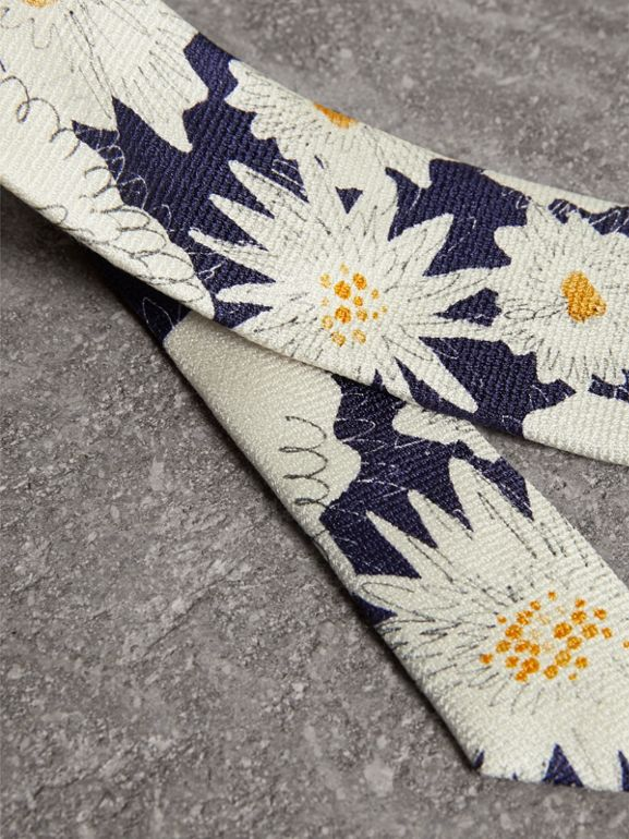 Slim Cut Daisy Print Silk Tie in Navy - Men | Burberry United States - cell image 1