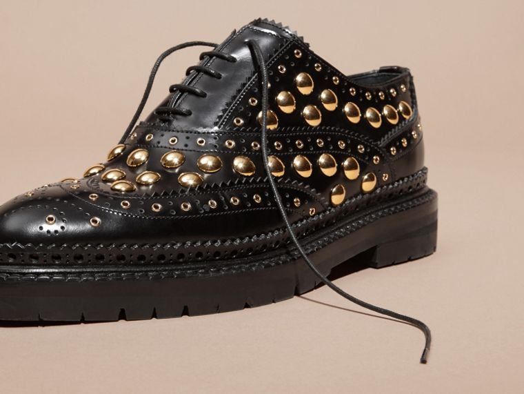 Black Studded Leather Wingtip Brogues - cell image 4