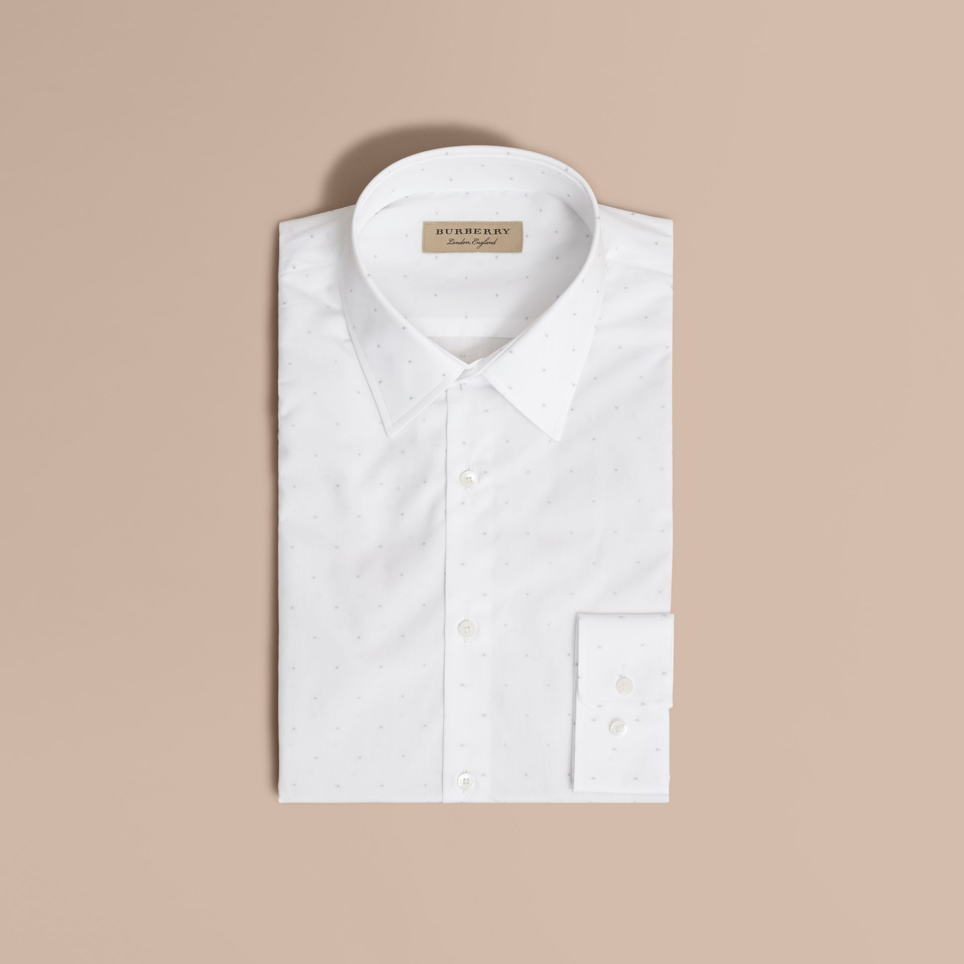 Slim Fit Dot Fil Coupé Cotton Poplin Shirt in White - Men | Burberry - gallery image 4