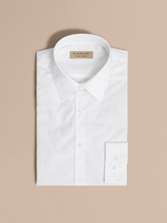 Slim Fit Dot Fil Coupé Cotton Poplin Shirt in White