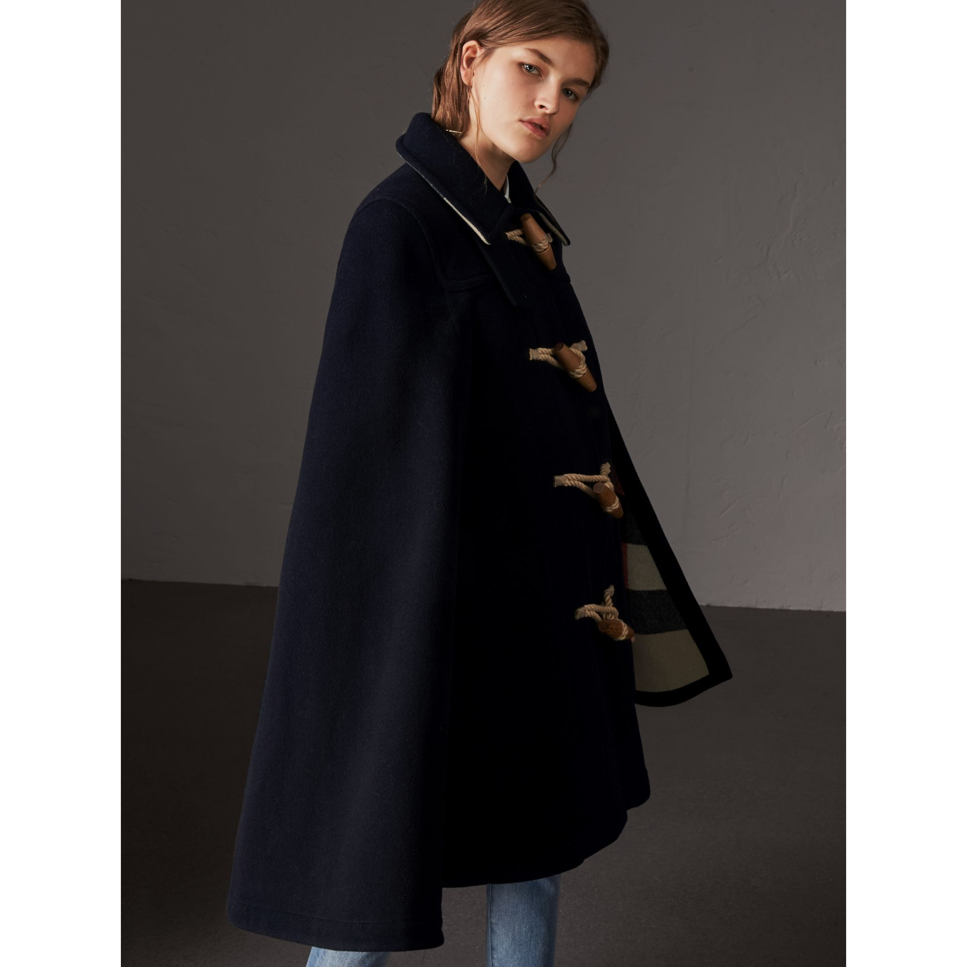 Double-faced Wool Blend Duffle Cape in Navy - Women | Burberry - gallery image 5