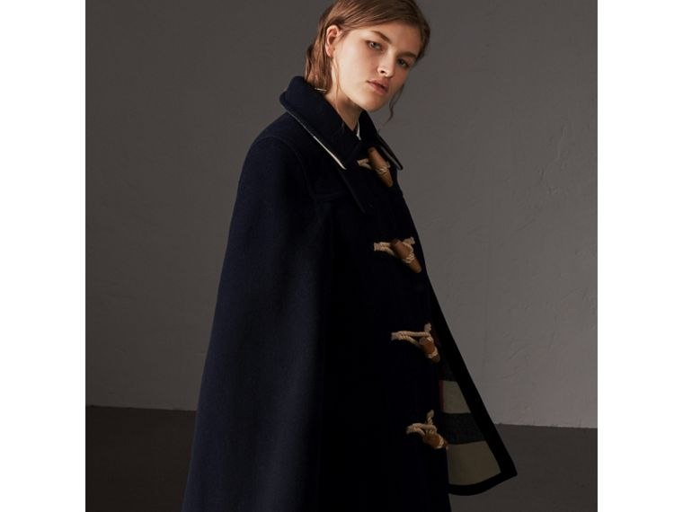 Double-faced Wool Blend Duffle Cape in Navy - Women | Burberry Australia - cell image 4