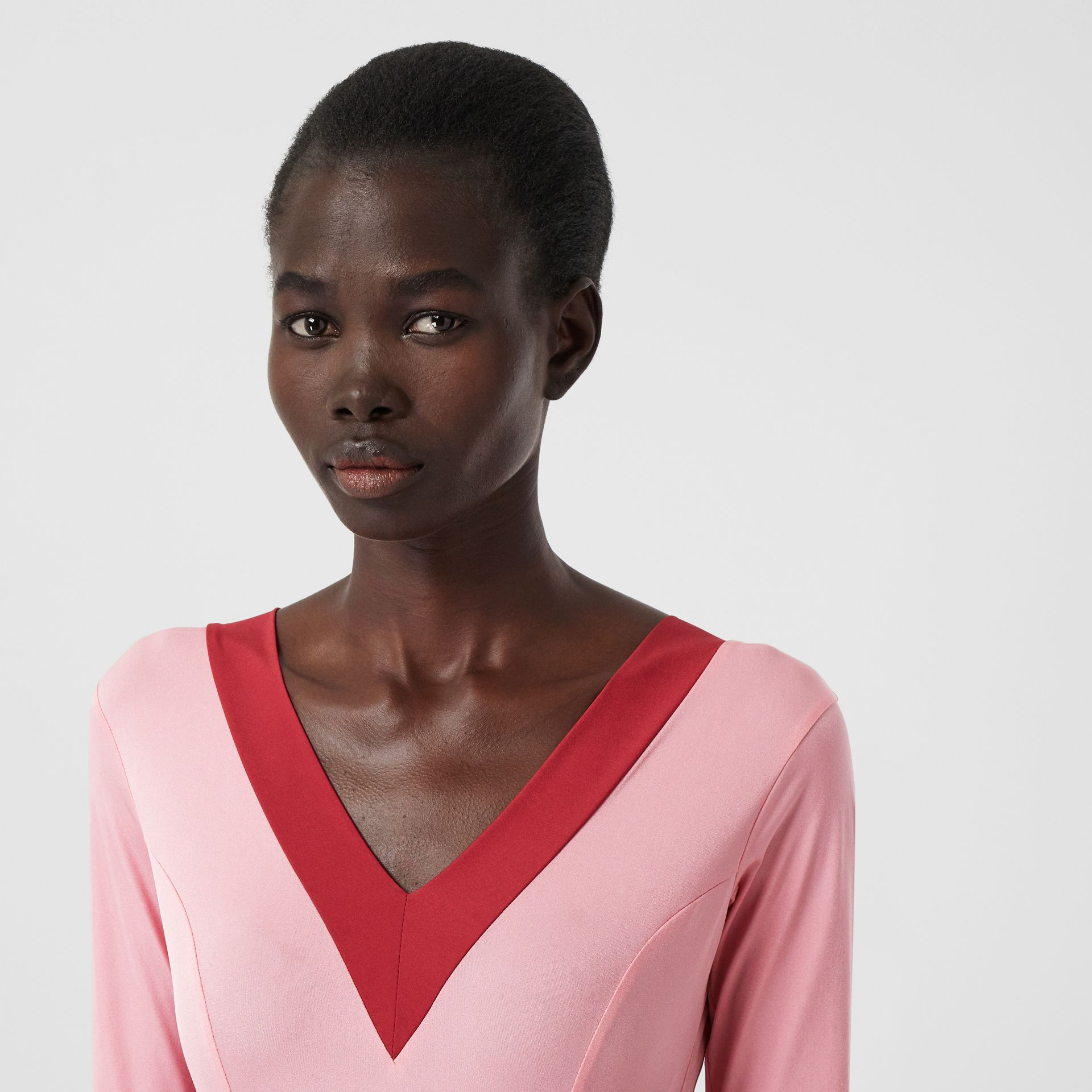 Two-tone Stretch Jersey Bodysuit in Pink - Women | Burberry - gallery image 4