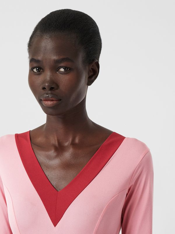Two-tone Stretch Jersey Bodysuit in Pink - Women | Burberry - cell image 3