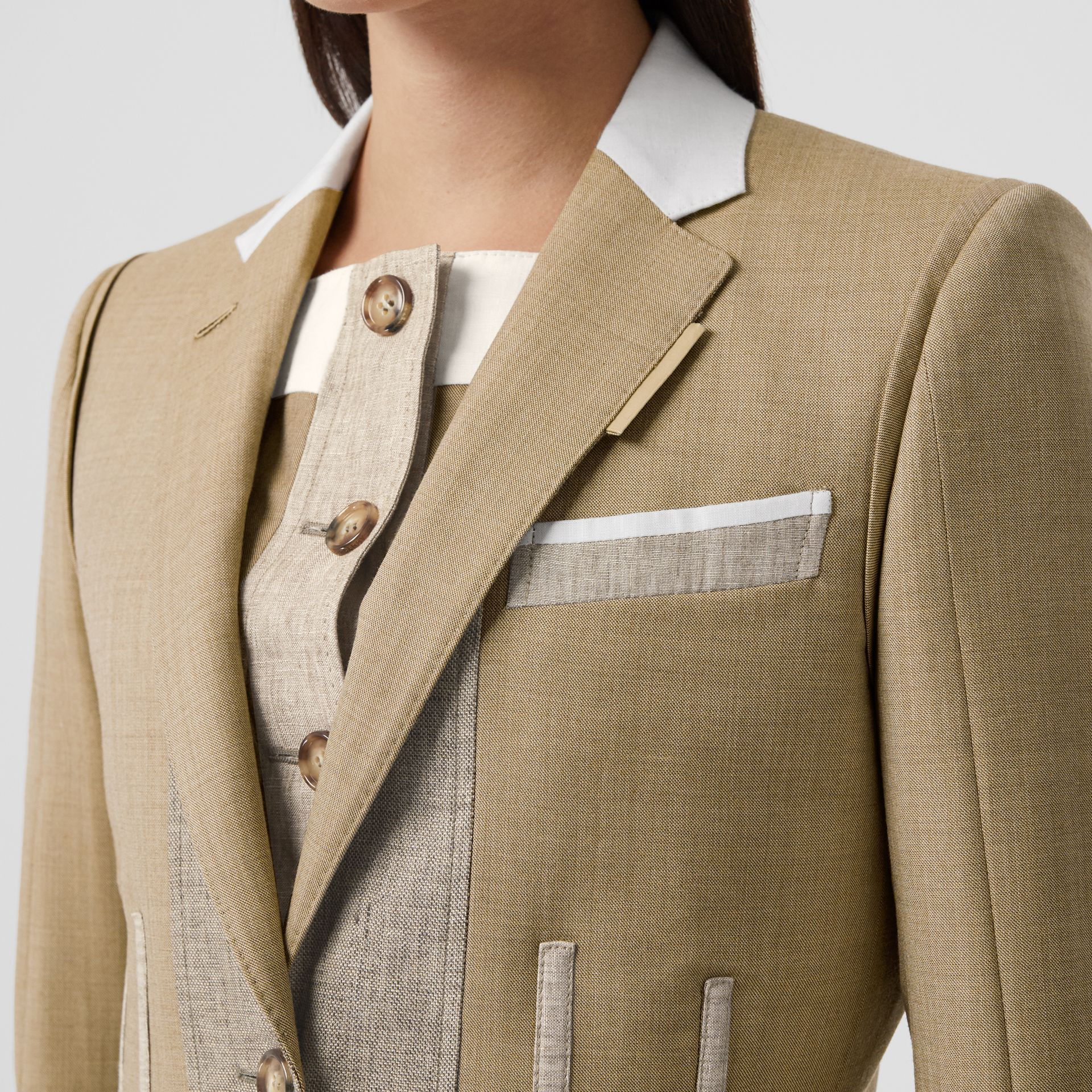 Contrast Seam Wool Cashmere and Linen Blazer in Pecan Melange - Women | Burberry - gallery image 1