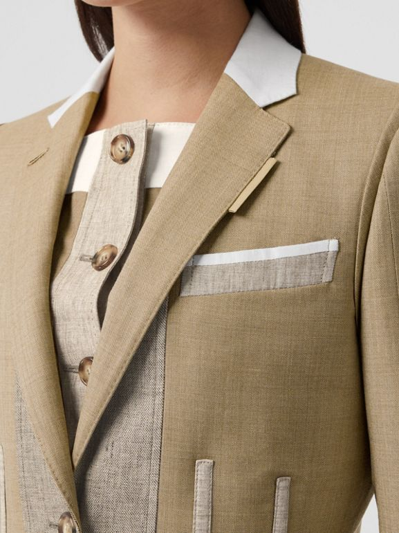 Contrast Seam Wool Cashmere and Linen Blazer in Pecan Melange - Women | Burberry - cell image 1