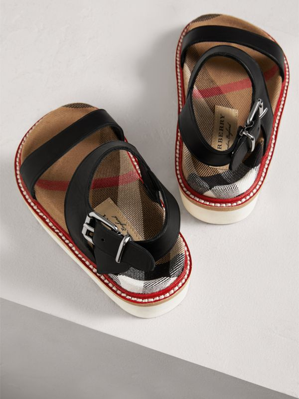 Leather and House Check Sandals in Black | Burberry - cell image 2