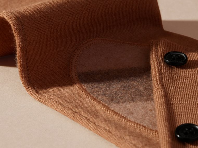 Check Detail Merino Wool Cardigan in Camel - cell image 1