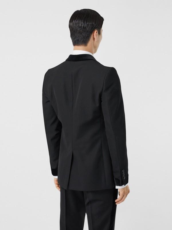 Classic Fit Velvet Trim Wool Tailored Jacket in Black - Men | Burberry Australia - cell image 2