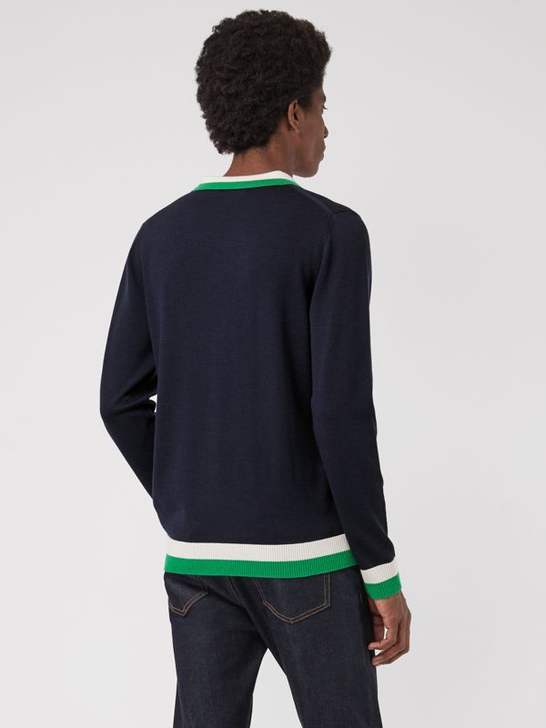 Stripe Detail Merino Wool Long-sleeve Polo Shirt in Navy - Men | Burberry - cell image 2