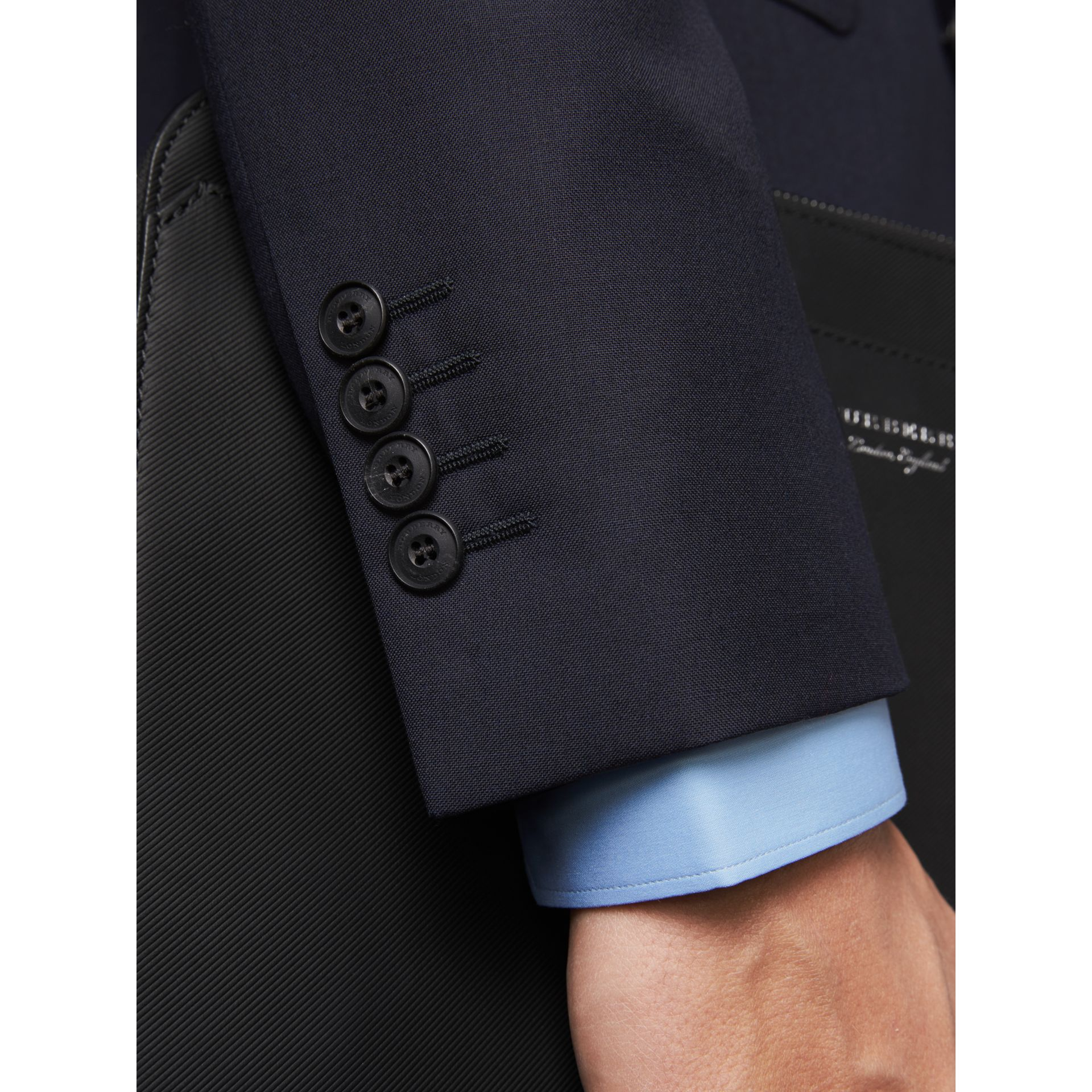 Slim Fit Wool Part-canvas Suit in Navy - Men | Burberry Canada - gallery image 4