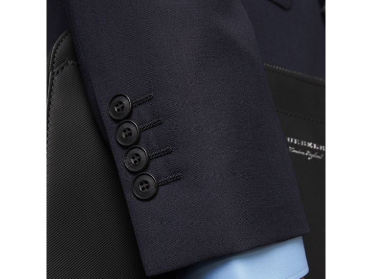 Slim Fit Wool Part-canvas Suit in Navy - Men | Burberry United Kingdom - cell image 4