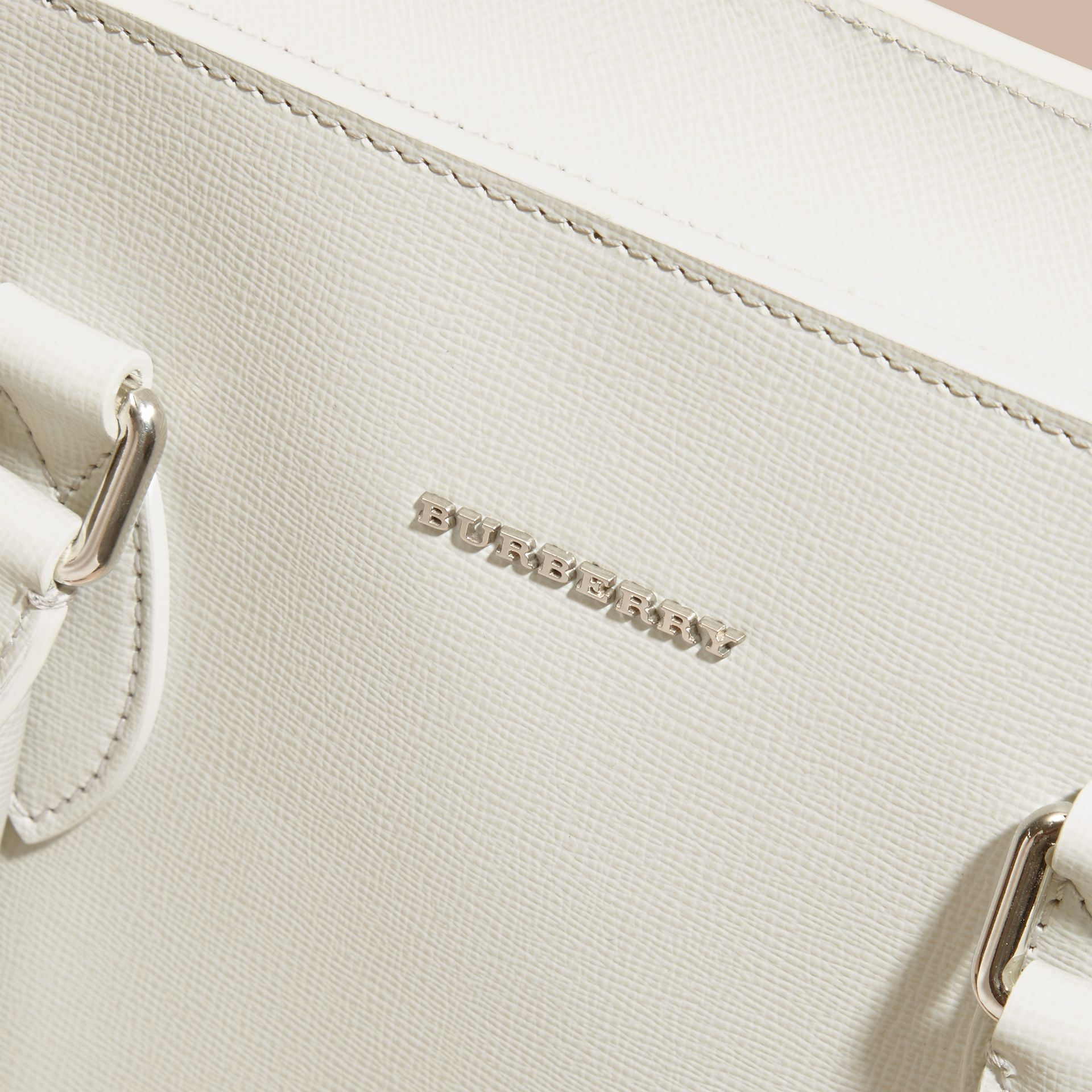 London Leather Tote Bag in Pale Stone - Men | Burberry - gallery image 7
