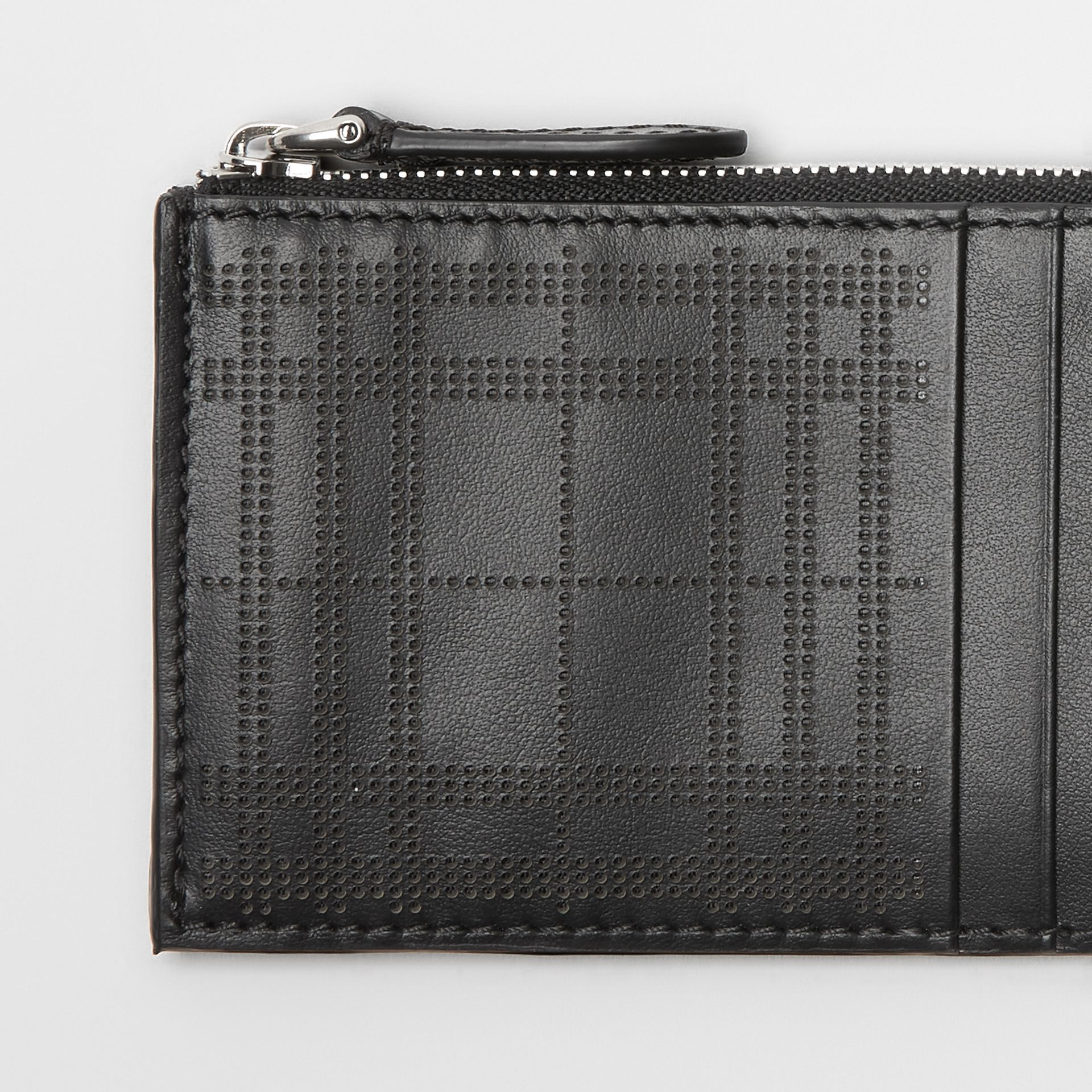 Perforated Check Leather Zip Card Case in Black - Men | Burberry - gallery image 1