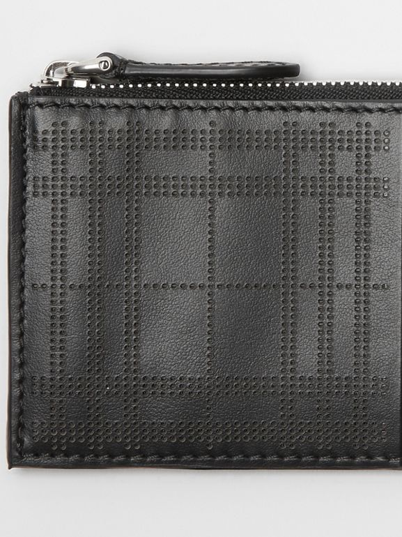Perforated Check Leather Zip Card Case in Black - Men | Burberry - cell image 1