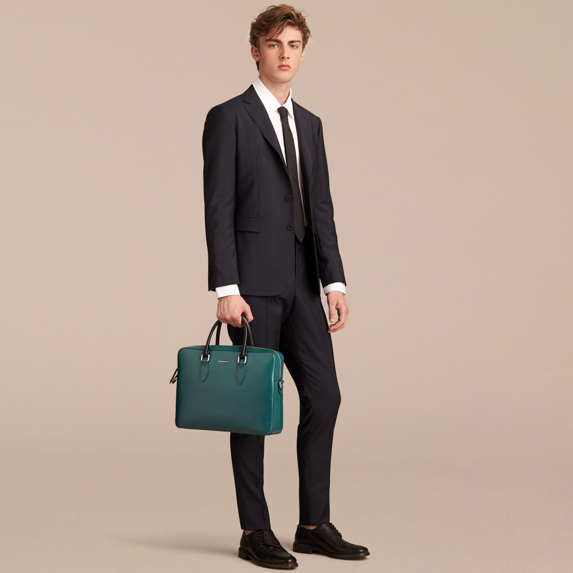London Leather Briefcase in Dark Teal/black - Men | Burberry - gallery image 3