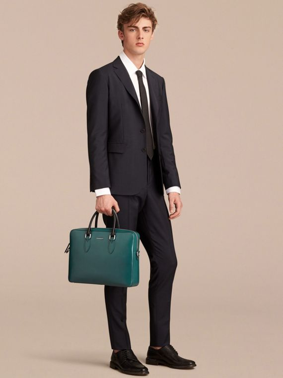 London Leather Briefcase in Dark Teal/black - Men | Burberry - cell image 2