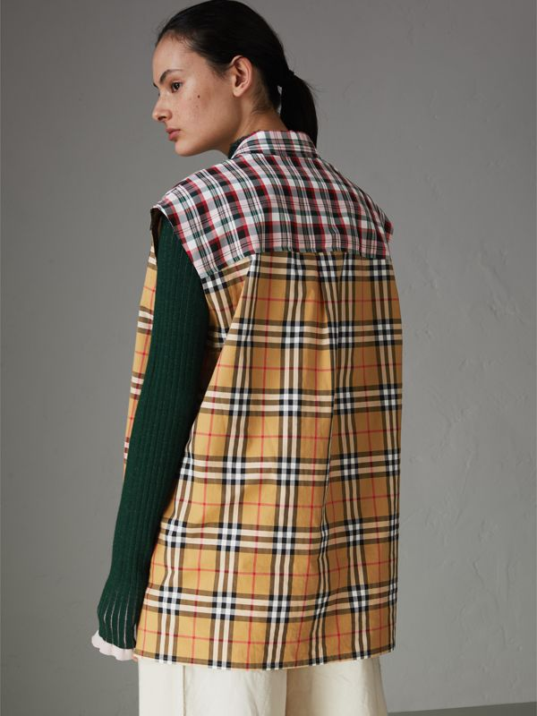 Contrast Check Sleeveless Shirt in Antique Yellow - Women | Burberry - cell image 2