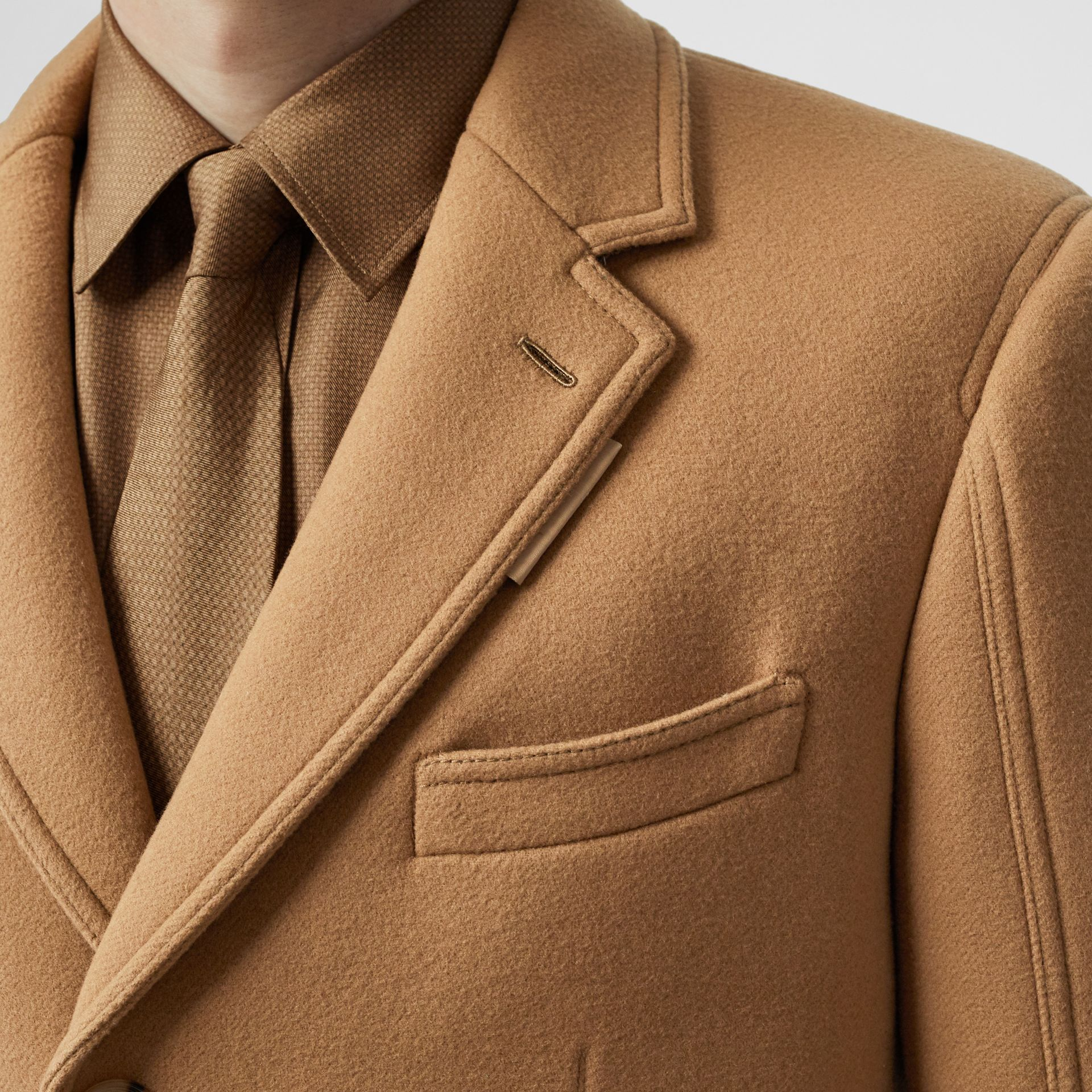 Zip Detail Wool Tailored Coat in Warm Camel - Men | Burberry Singapore - gallery image 4