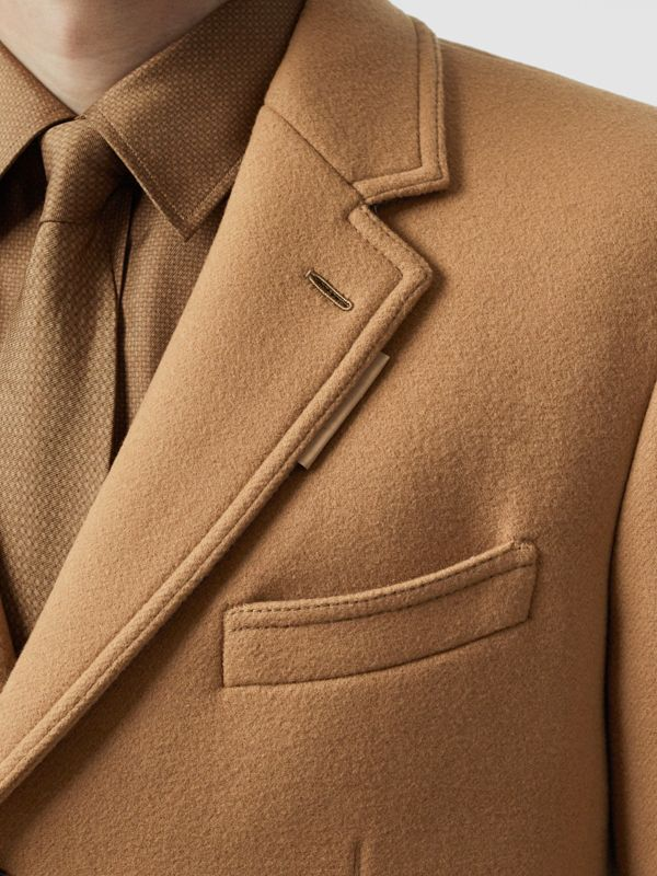 Zip Detail Wool Tailored Coat in Warm Camel - Men | Burberry - cell image 3