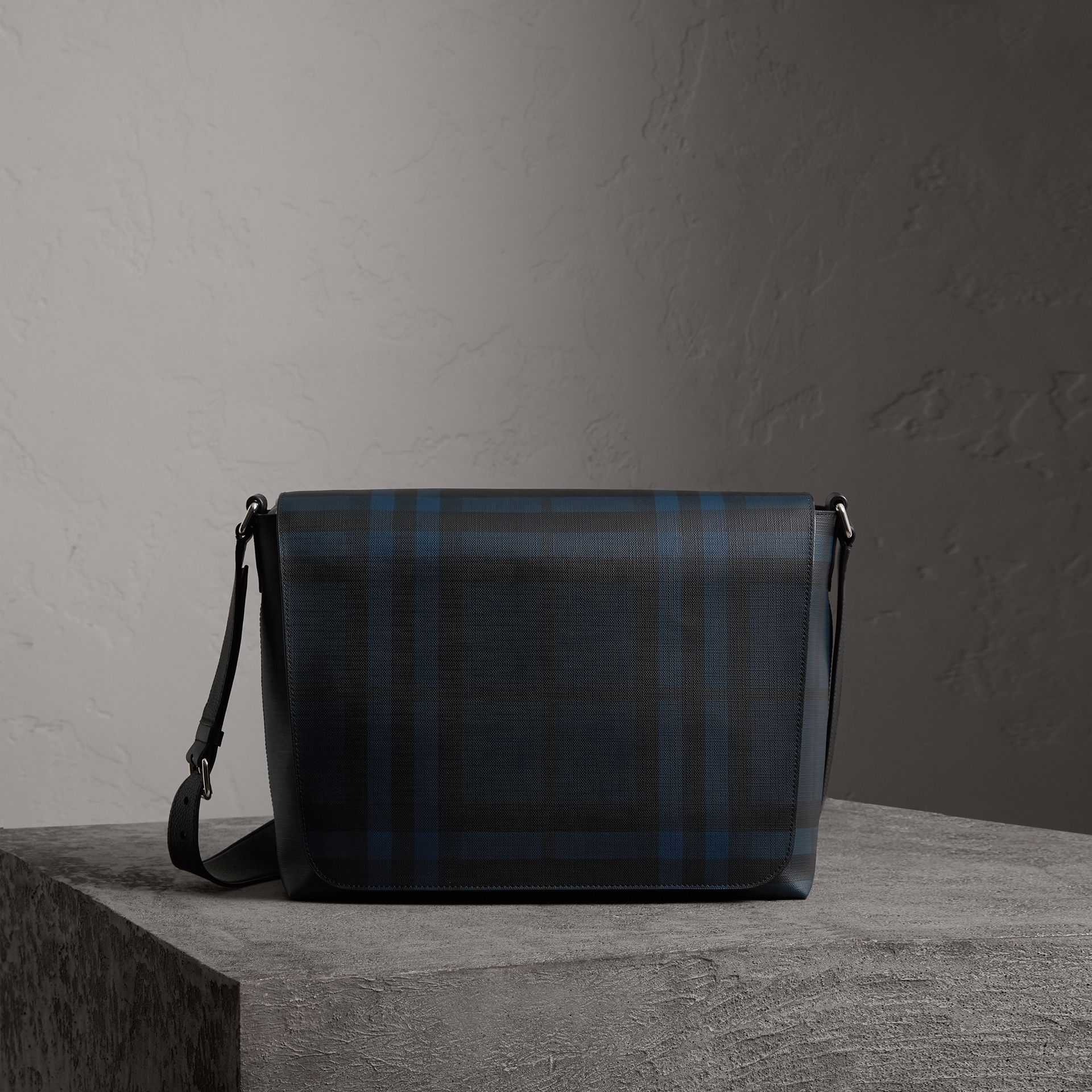 Large London Check Messenger Bag in Navy/black | Burberry United Kingdom - gallery image 0