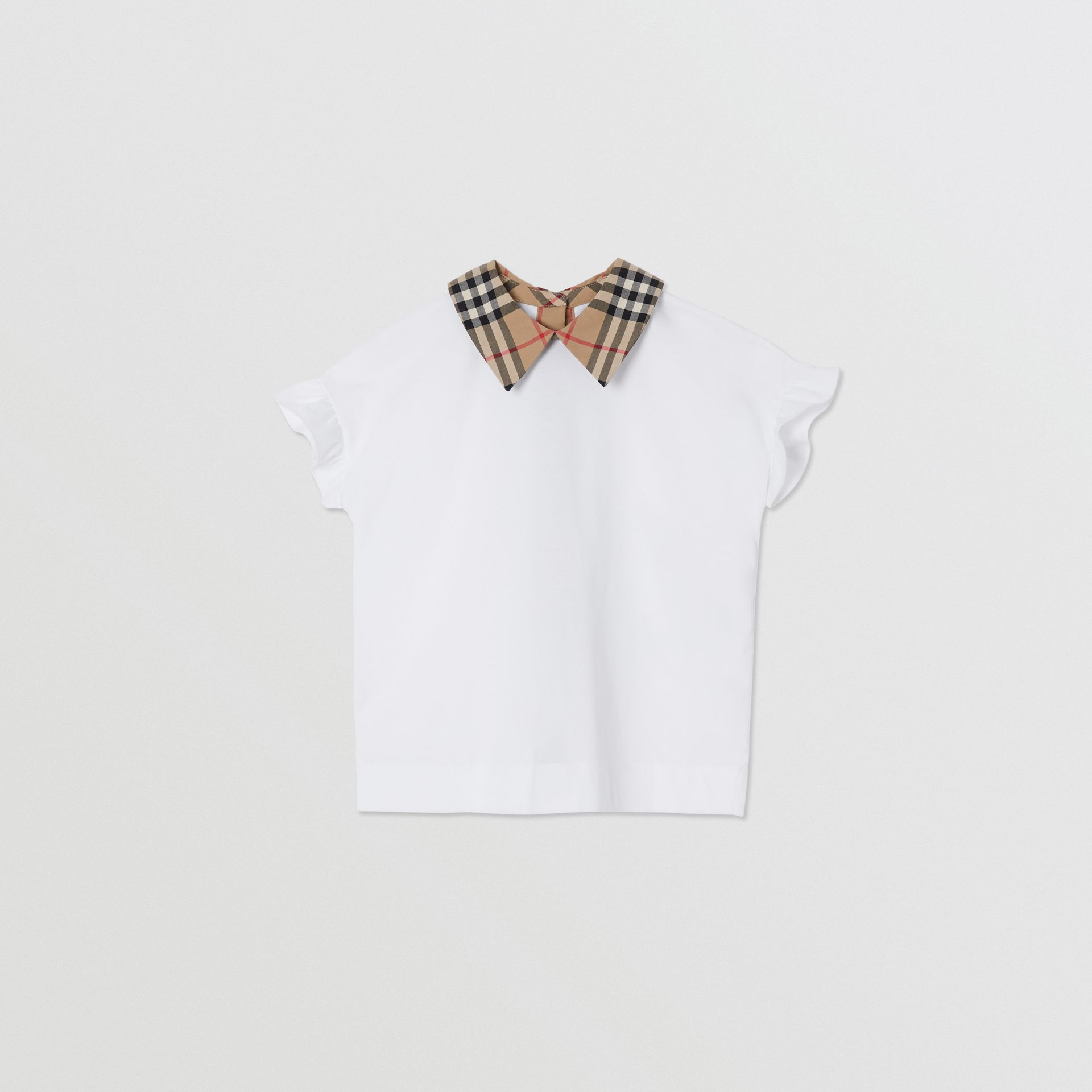 Vintage Check Detail Ruffled Sleeve Cotton T-shirt in White | Burberry - gallery image 0