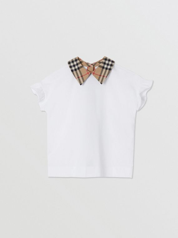 Vintage Check Detail Ruffled Sleeve Cotton T-shirt in White