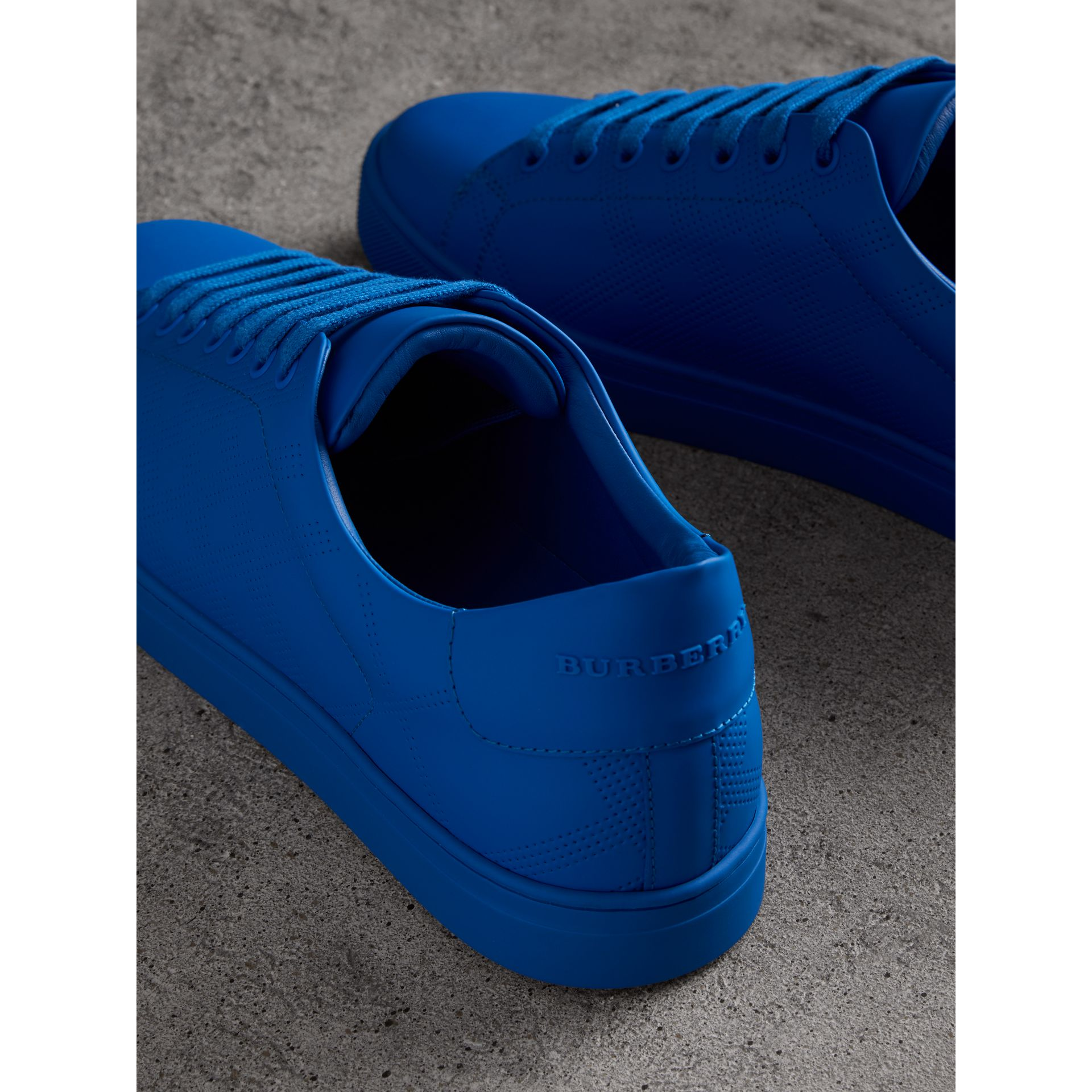 Perforated Check Leather Sneakers in Bright Sky Blue - Men | Burberry - gallery image 3