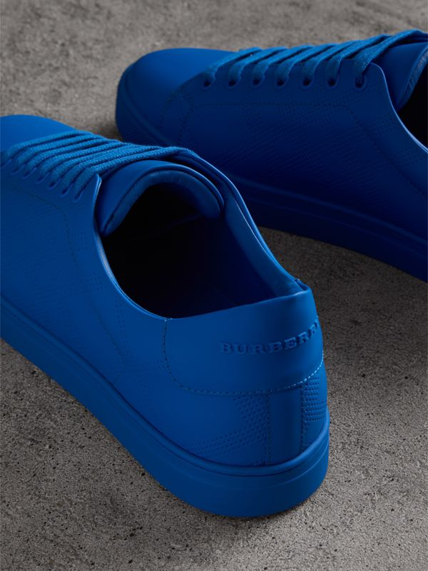 Perforated Check Leather Sneakers in Bright Sky Blue - Men | Burberry - cell image 3