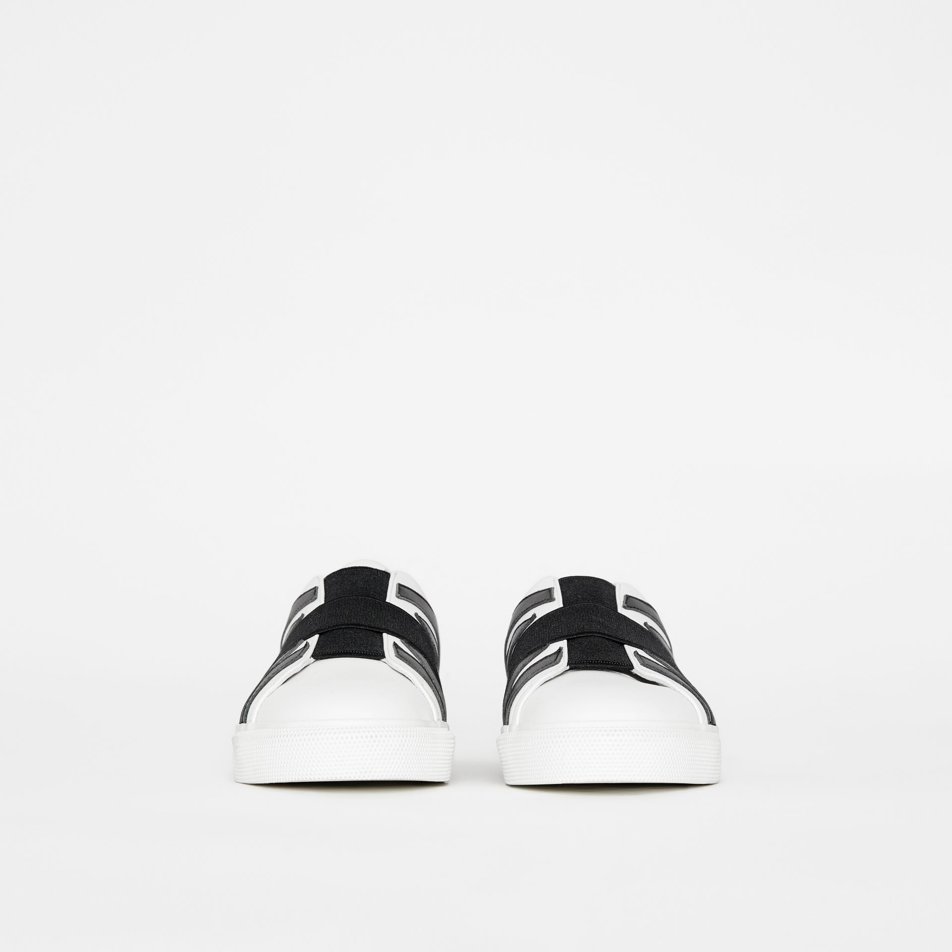 Union Jack Motif Slip-on Sneakers in Optic White/black - Women | Burberry United Kingdom - gallery image 3