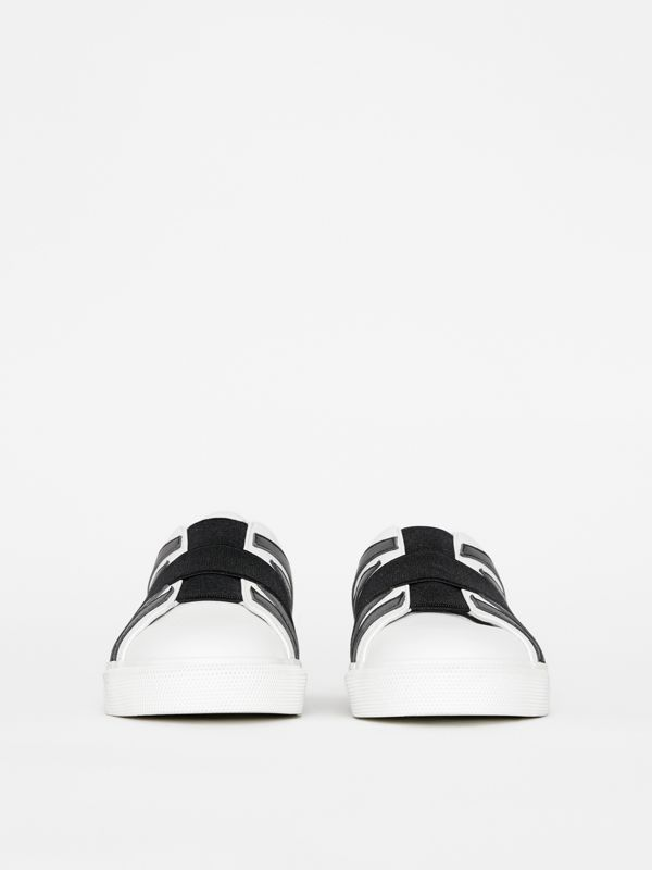 Union Jack Motif Slip-on Sneakers in Optic White/black - Women | Burberry Singapore - cell image 3