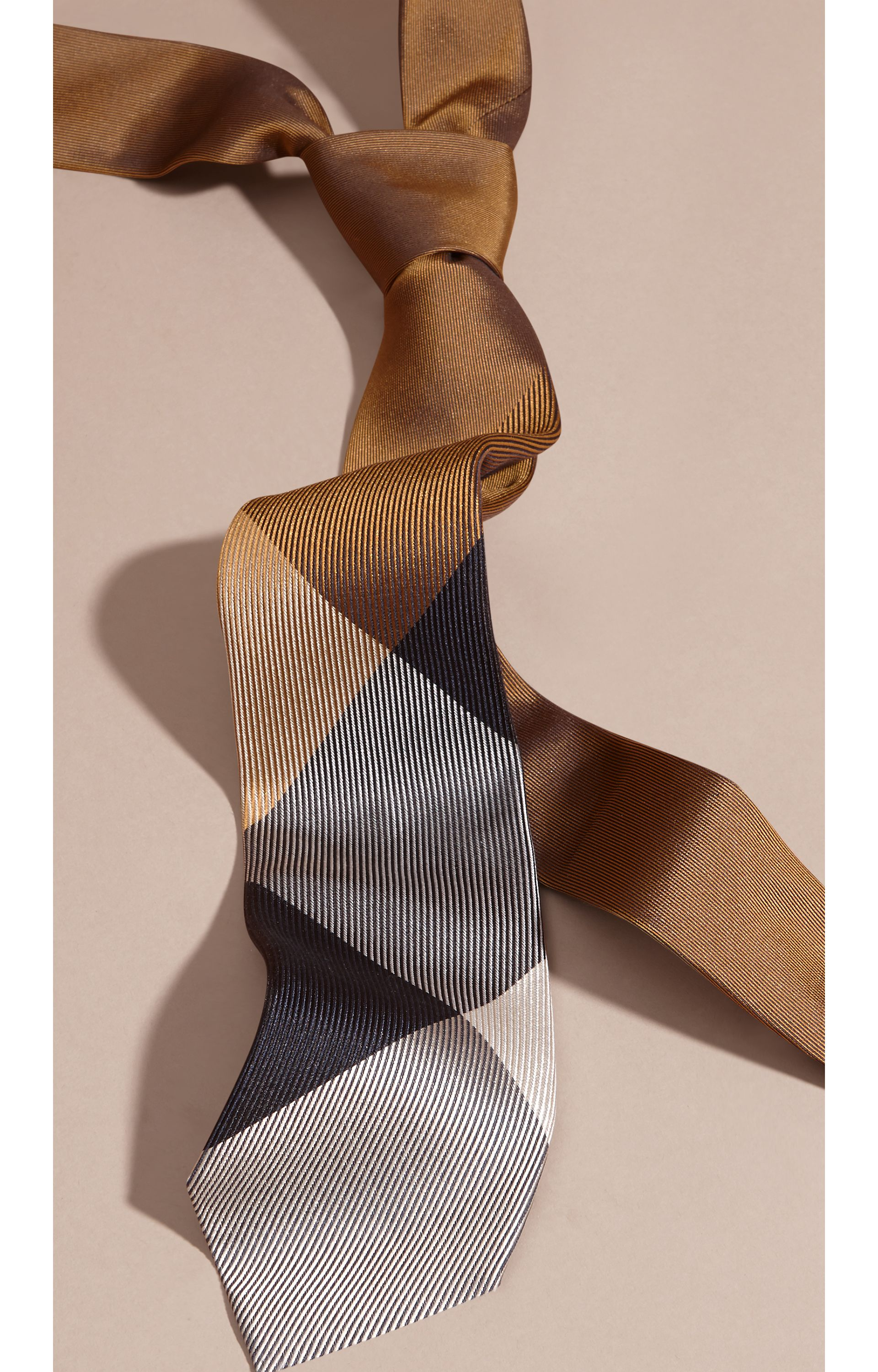 Ochre brown Modern Cut Check Jacquard Silk Tie Ochre Brown - gallery image 3