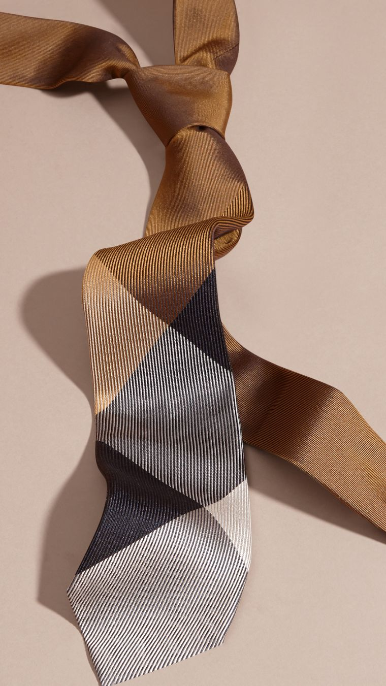 Ochre brown Modern Cut Check Jacquard Silk Tie Ochre Brown - cell image 2