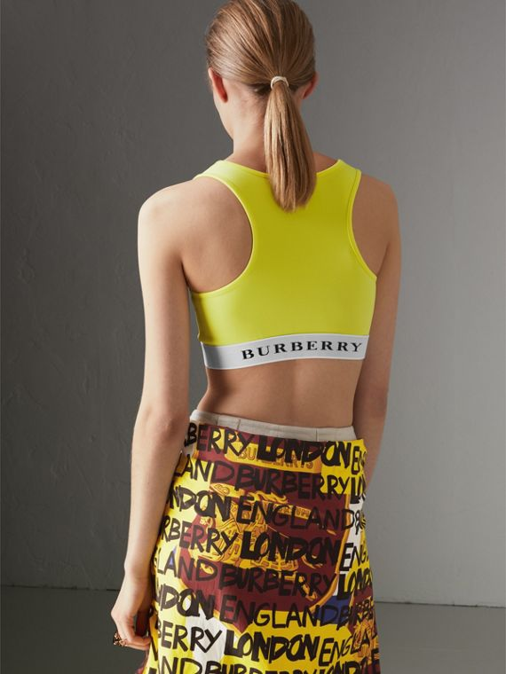 Logo Stretch Jersey Bra Top in Bright Yellow - Women | Burberry Hong Kong - cell image 2