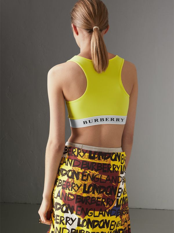 Logo Stretch Jersey Bra Top in Bright Yellow - Women | Burberry Australia - cell image 2