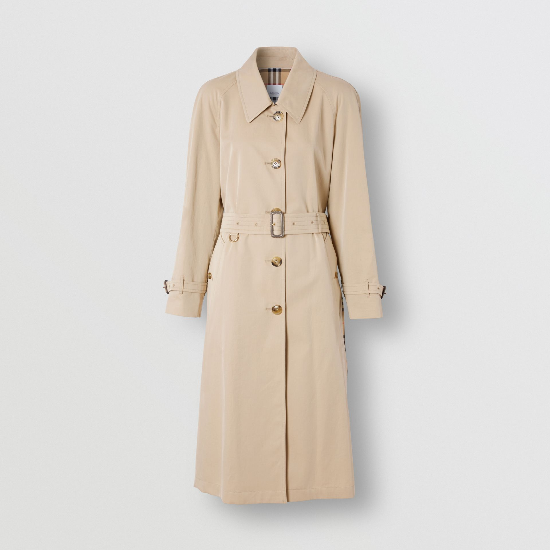 Side-slit Tropical Gabardine Trench Coat in Light Taupe - Women | Burberry United Kingdom - gallery image 3