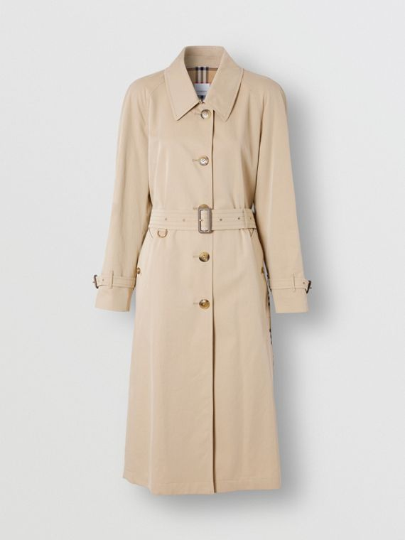 Side-slit Tropical Gabardine Trench Coat in Light Taupe
