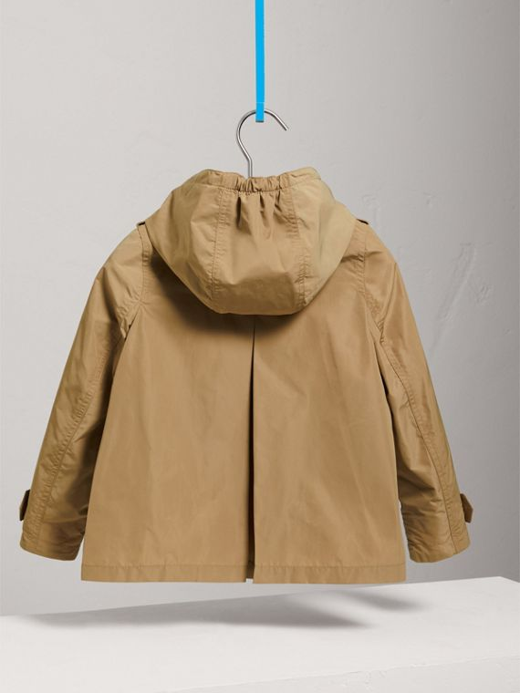 Detachable Hood Shape-memory Taffeta Trench Coat in Honey - Girl | Burberry - cell image 3