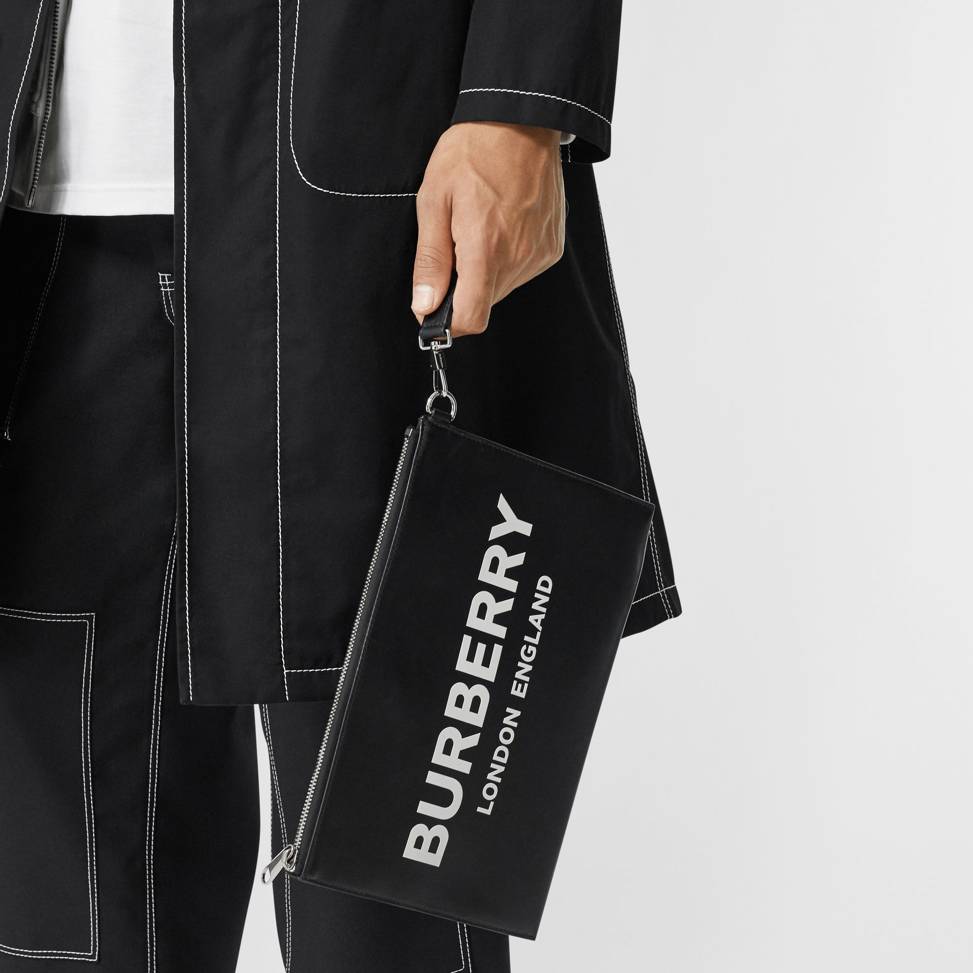 Logo Print Zip Pouch in Black | Burberry Hong Kong S.A.R - gallery image 2