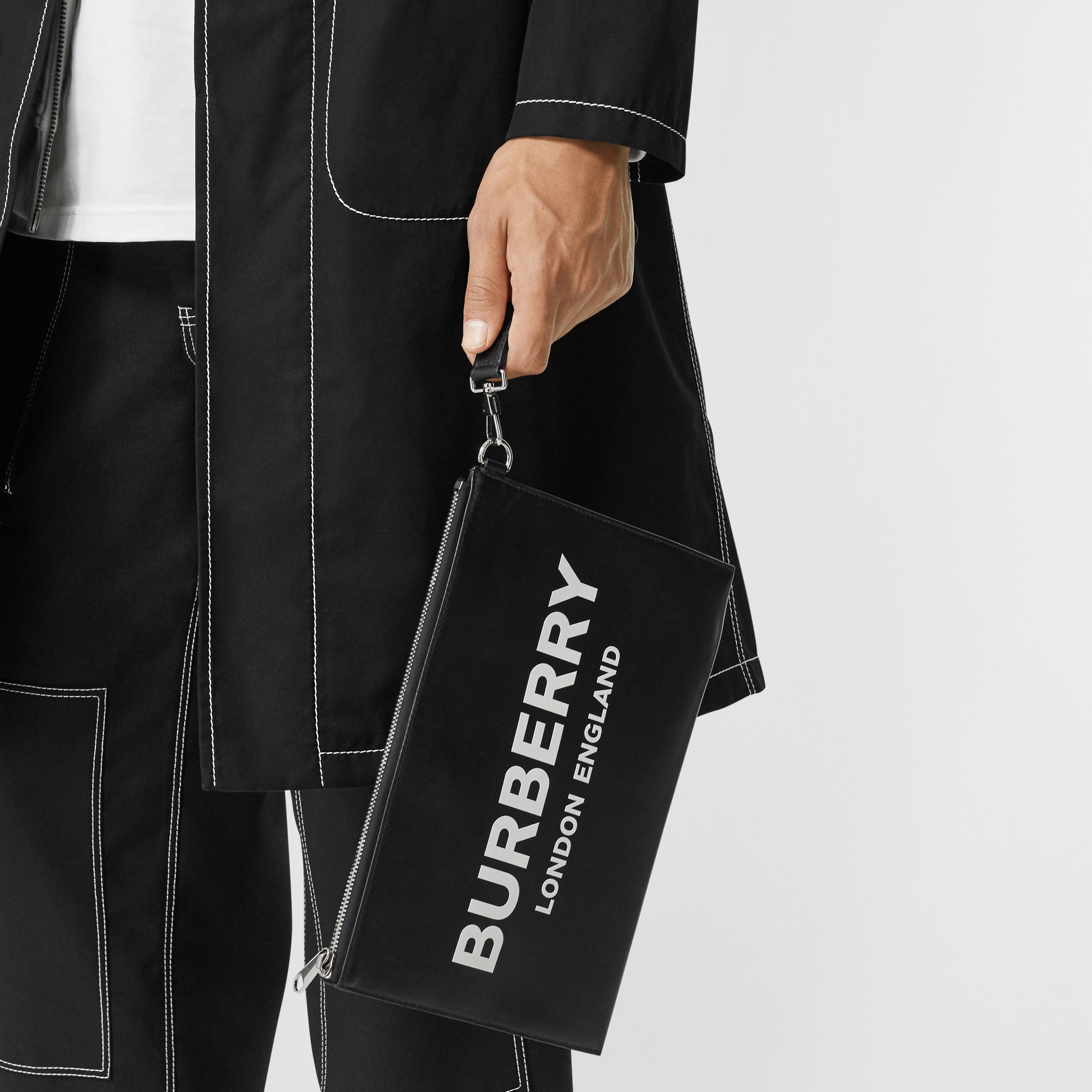 Logo Print Zip Pouch in Black | Burberry - 3