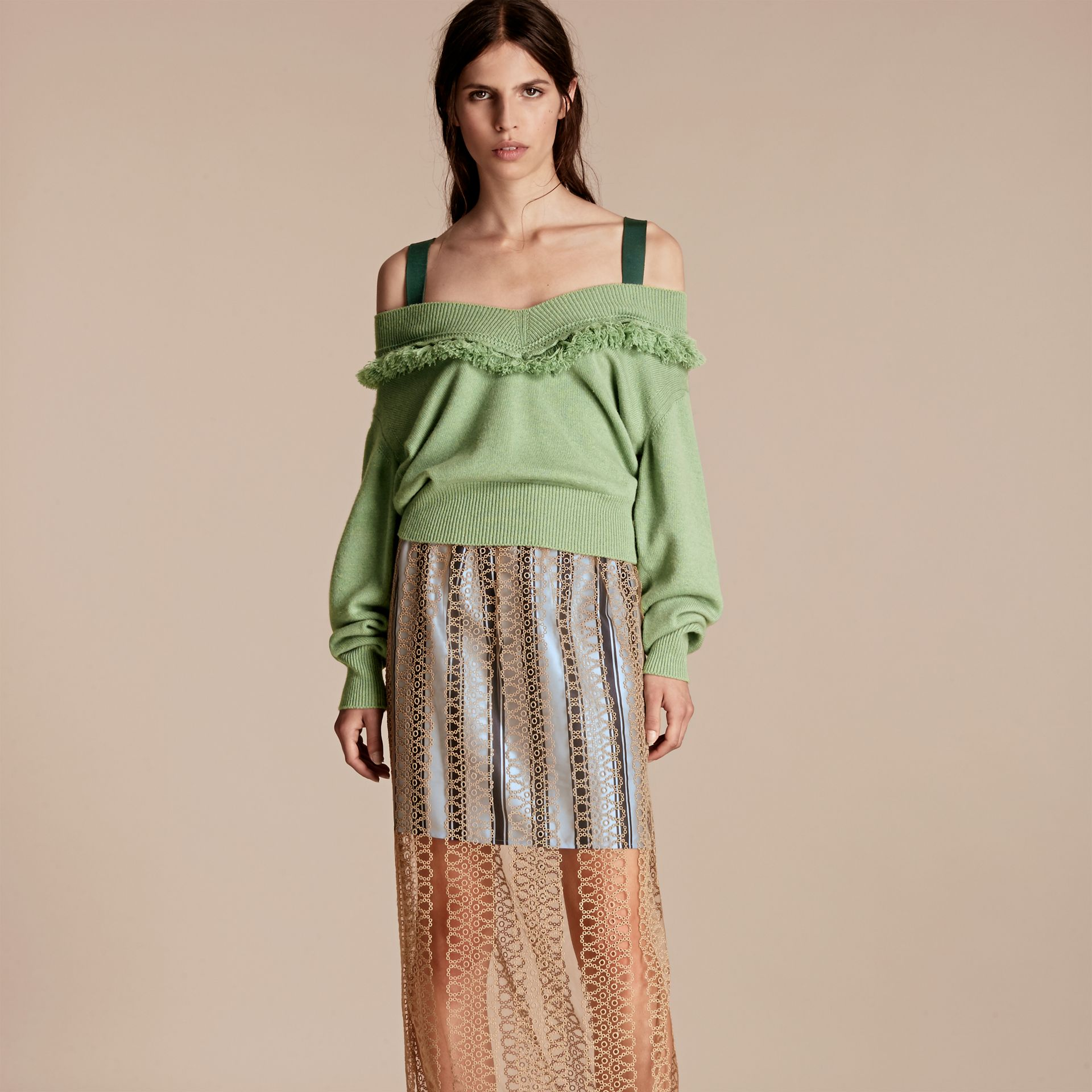 Fringed Off-the-shoulder Cashmere Sweater in Apple Green - gallery image 1