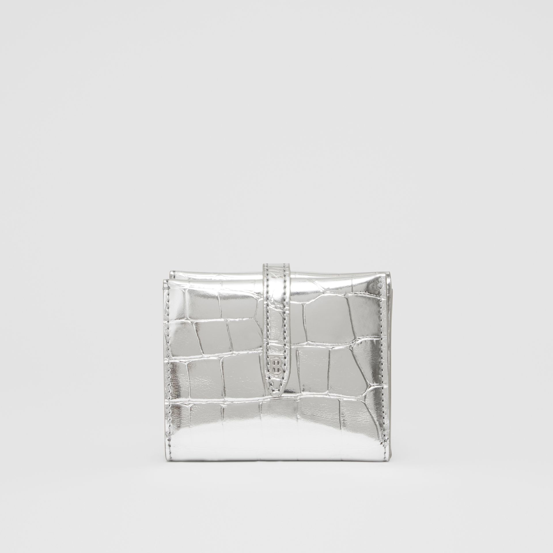 Metallic Embossed Folding Wallet in Silver - Women | Burberry United Kingdom - gallery image 5